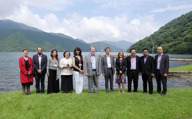 Các nhà đàm phán TPP nhóm họp tại khu nghỉ dưỡng Hakone, tỉnh Kanagawa ngày 19-7. Ảnh: Kyodo