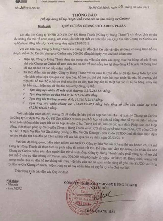 Nhiều cư dân là chủ những căn hộ trong chung cư Carina tỏ ra bức xúc khi Công ty Hùng Thanh bất ngờ ra thông báo ngưng hỗ trợ chi phí chỗ ở mức 300.000 đồng/hộ/ngày.