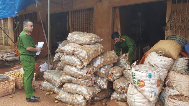 Lực lượng chức năng bắt quả tang một cơ sở đang trộn đất vào khoai tây Trung Quốc để biến thành hàng Đà Lạt