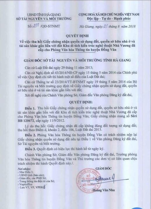 Quyết định thu hồi giấy chứng nhận quyền sử dụng đất, quyền sở hữu nhà ở và tài sản khác gắn liền với đất khu dinh thự họ Vương (dinh Vua Mèo) đã cấp cho Phòng Văn hoá Thông tin huyện Đồng Văn của Sở Tài nguyên Môi trường Hà Giang.