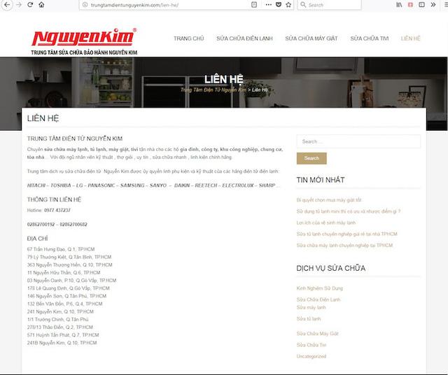 Ảnh chụp màn hình trang web giả mạo nhãn hiệu, doanh nghiệp.