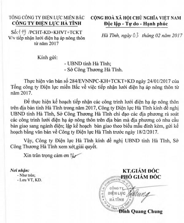 PC Hà Tĩnh đã nhiều lần công ty đã đề xuất UBND tỉnh Hà Tĩnh, Sở Công thương tỉnh này bàn giao các HTX kinh doanh điện như trường hợp HTX Thành Tâm để bảo đảm công bằng, quyền lợi cho người dân. Tuy nhiên những đề xuất như thế này chưa được tỉnh Hà Tĩnh chấp thuận.