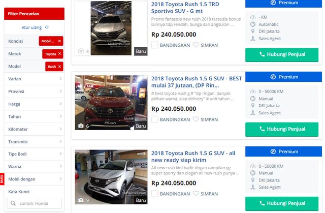 Mẫu xe Rush giá rẻ được bán tại Indonesia