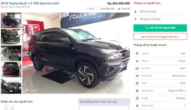 Giá bán xe Rush tại Indonesia