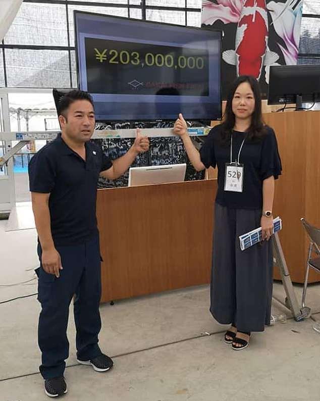 Cô Yingying, người đã đấu giá thành công chú cá Koi hiếm có với giá 203 triệu Yên. (Nguồn: Daily Mail)
