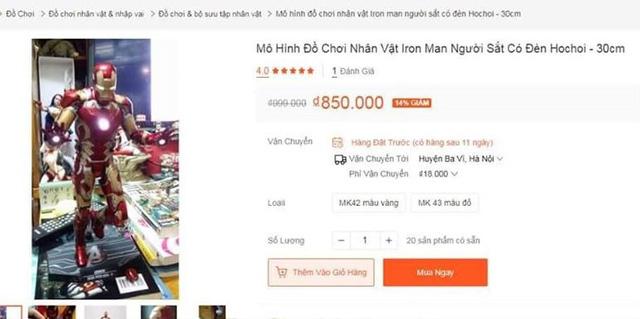 Hình minh họa của mô hình Iron Man anh Sang đặt mua trên một trang bán hàng trực tuyến nổi tiếng của Việt Nam.