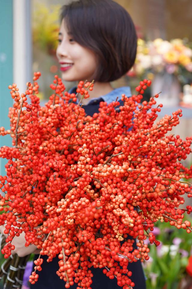Winter Berries hay còn gọi là Đào đông là hoa nhập khẩu từ Hà Lan. Mỗi cành đào đông dài khoảng 70cm và có giá 250.000 đồng/cành.