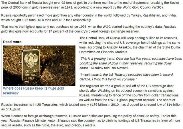 Dự trữ vàng của Nga lên mức kỷ lục.