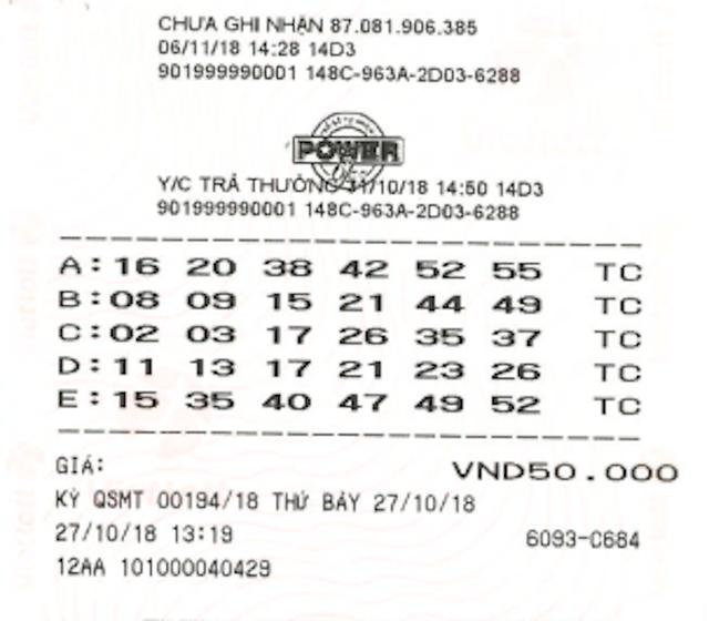 Tấm vé may mắn được phát hành tại điểm bán hàng số 464A Minh Phụng, Phường 9, Quận 11, TPHCM.