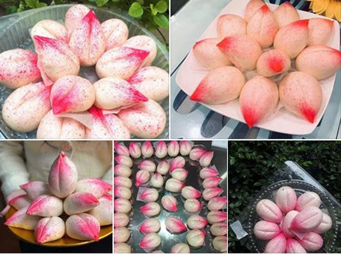 Sáng rằm tháng Giêng, dâng ông bà 100 cái bánh bao đào tiên hồng rực