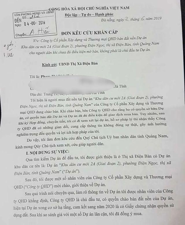 """Người dân tố công ty bán đất """"ảo"""" ở Khu đô thị mới Điện Nam-Điện Ngọc"""