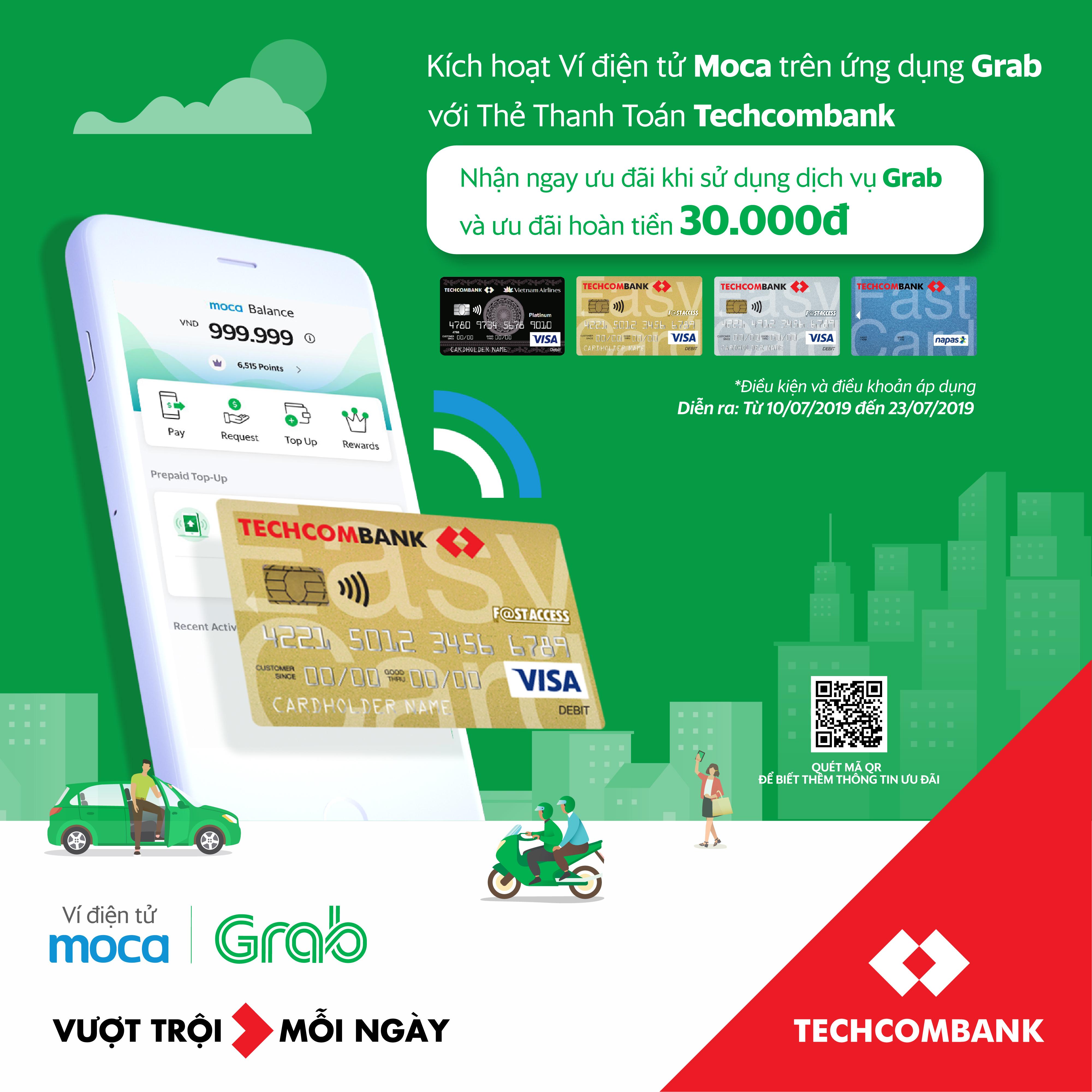 Ví điện tử Moca trên ứng dụng Grab chính thức liên kết với Techcombank: Gia tăng lợi ích vượt trội cho Khách hàng
