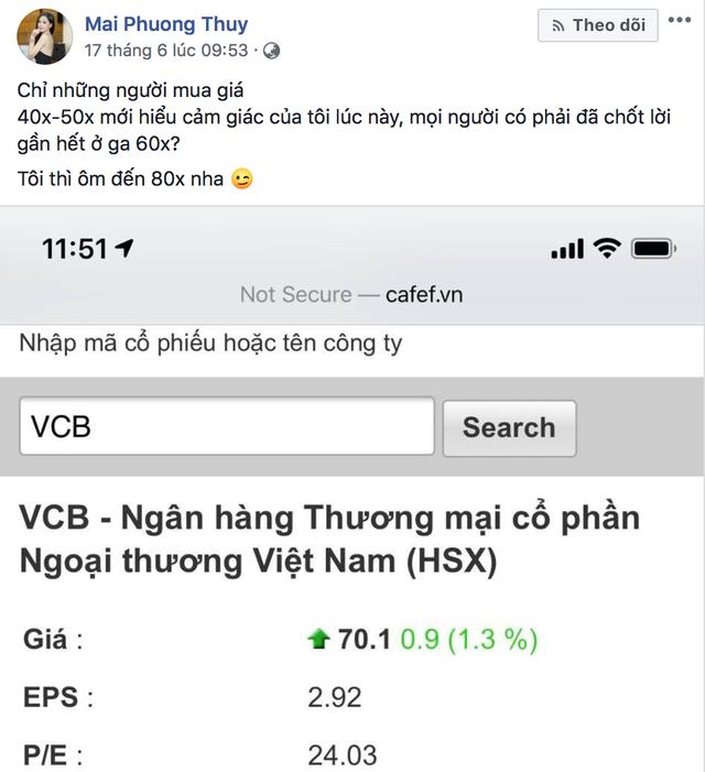 """Mai Phương Thuý bất ngờ """"gây sốt"""" khi cổ phiếu VCB liên tục lập đỉnh giá - 1"""