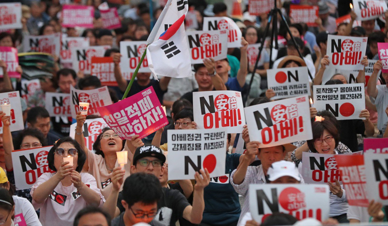 An anti-Japan protest in South Korea. Photo: EPA-EFE