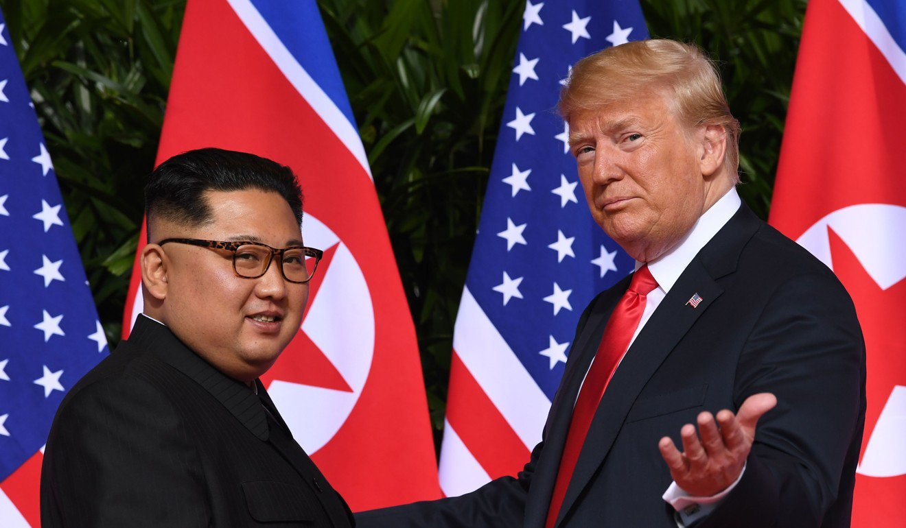North Korea's leader Kim Jong Un meets with US President Donald Trump. Photo: AFP