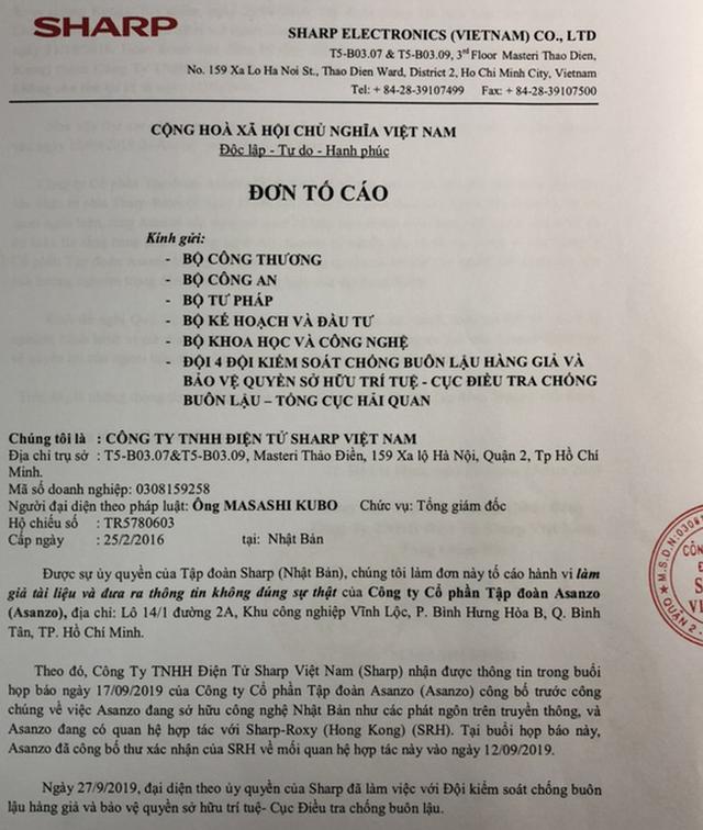 Sharp Việt Nam tiếp tục tố cáo Asanzo tới 5 Bộ vụ làm giả tài liệu - 1