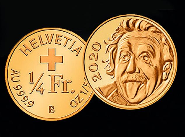 Thụy sĩ bán đồng tiền vàng nhỏ không tưởng, nặng bằng hạt gạo, có hình Einstein đang lè lưỡi