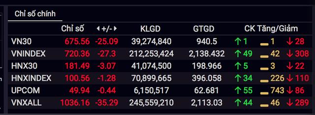 Nhà đầu tư tháo chạy, VN-Index bị thổi bay hơn 27 điểm - 1