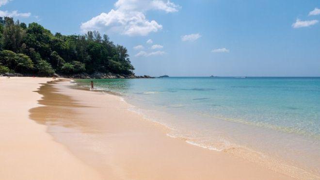 A deserted beach in Phuket, Thailand.