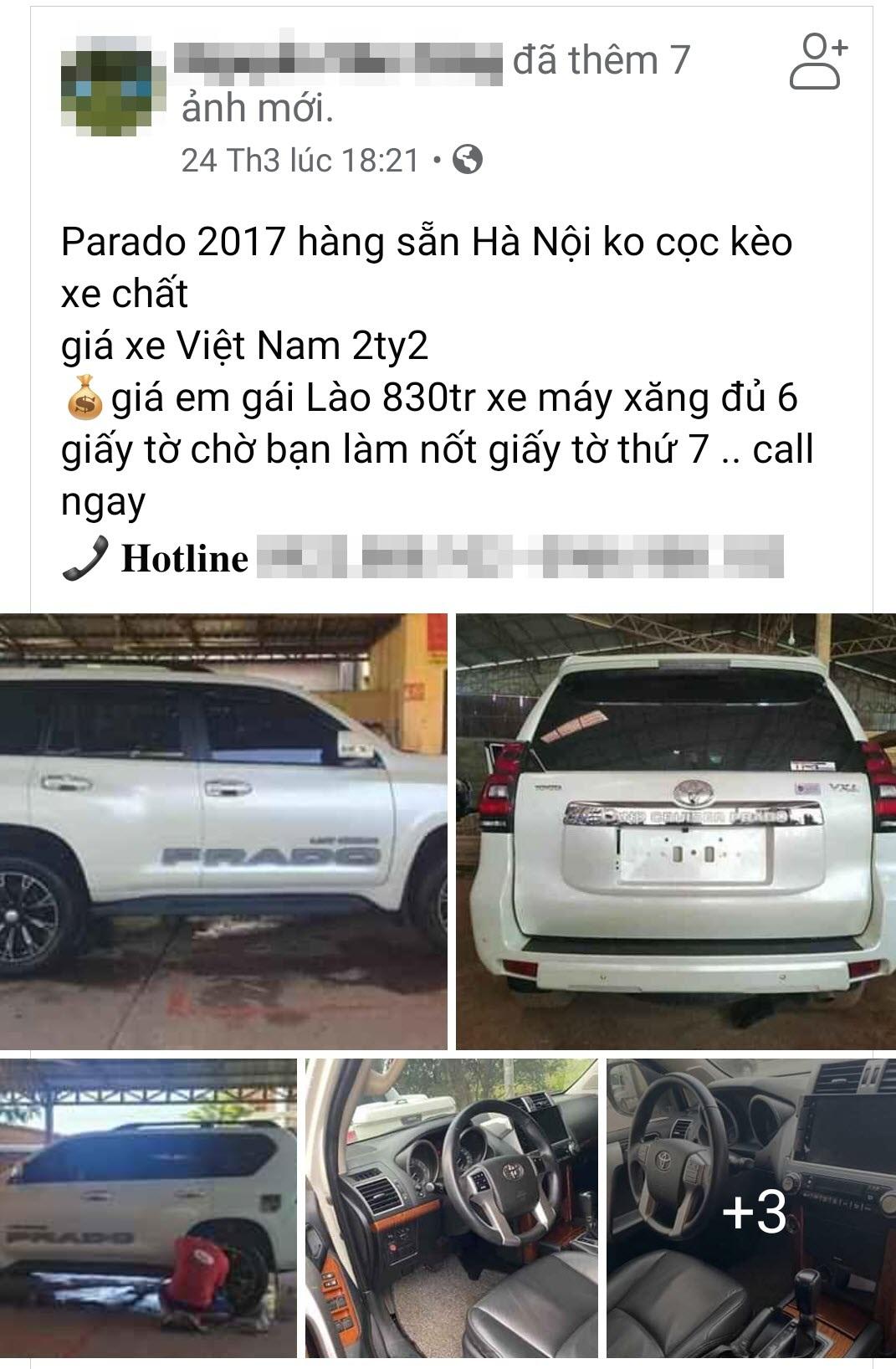 Bùng nổ ô tô cũ biển Lào bán giá siêu rẻ tại Việt Nam