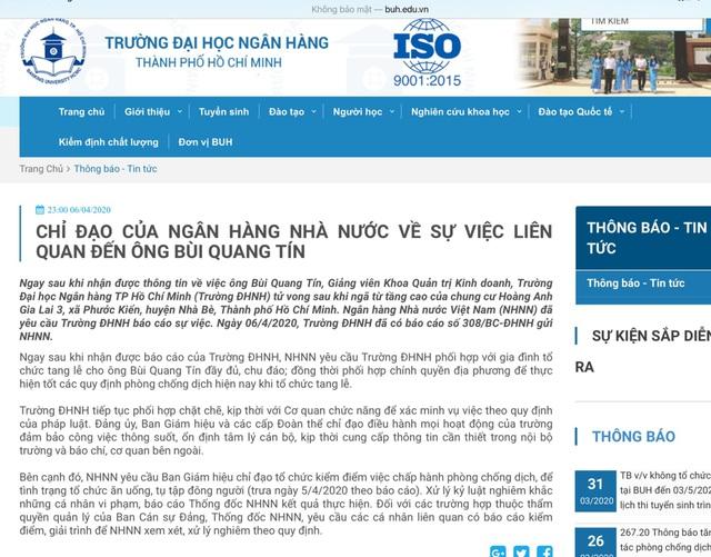 Vụ giảng viên ĐH Ngân hàng TPHCM tử vong: Ngân hàng Nhà nước chỉ đạo khẩn - 1