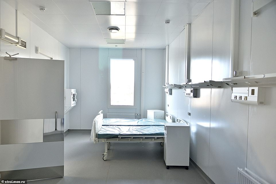 Pictured: An intensive care room at the new Moscow hospital complex. The facility is the largest of 18 new medical spaces being built across the country, and the only one not being built by the Russian armed forces