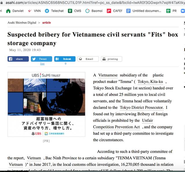 Bất thường nghi vấn Công ty Tenma hối lộ công chức Việt Nam 25 triệu yên - 1