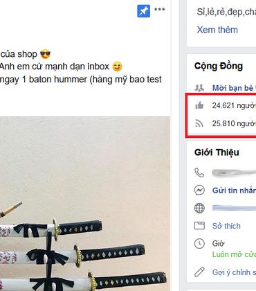 Ngang nhiên quảng cáo, rao bán dao, kiếm, dùi cui điện… trên Facebook