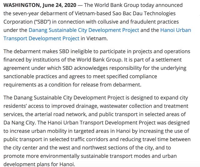 Công ty Việt Nam bị World Bank cấm vận 7 năm vì gian lận nói gì? - 1