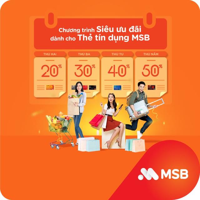 Hoàn tiền tới 50% các ngày trong tuần với thẻ quốc tế MSB - 1