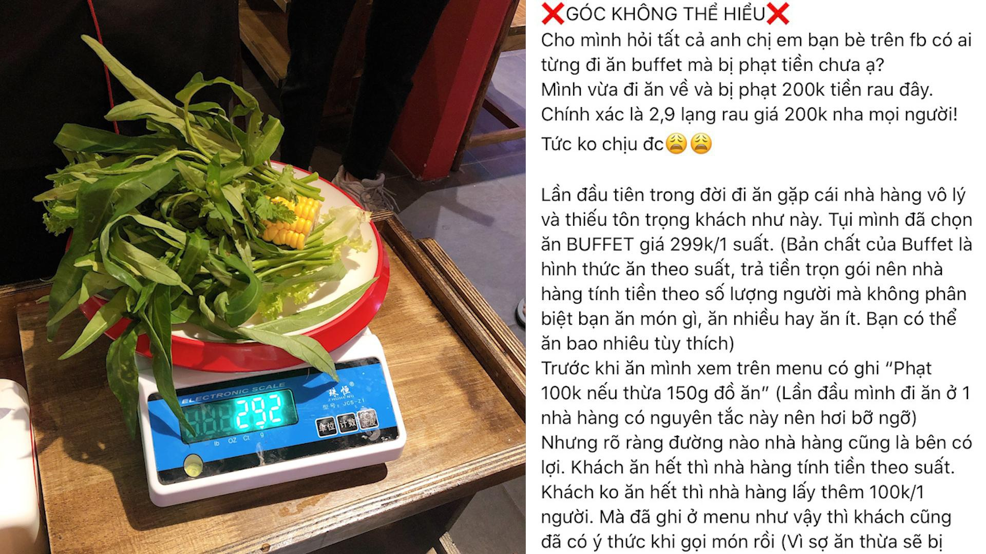 Đi ăn buffet, thực khách bị phạt 200 ngàn đồng vì để thừa... 2,9 lạng rau