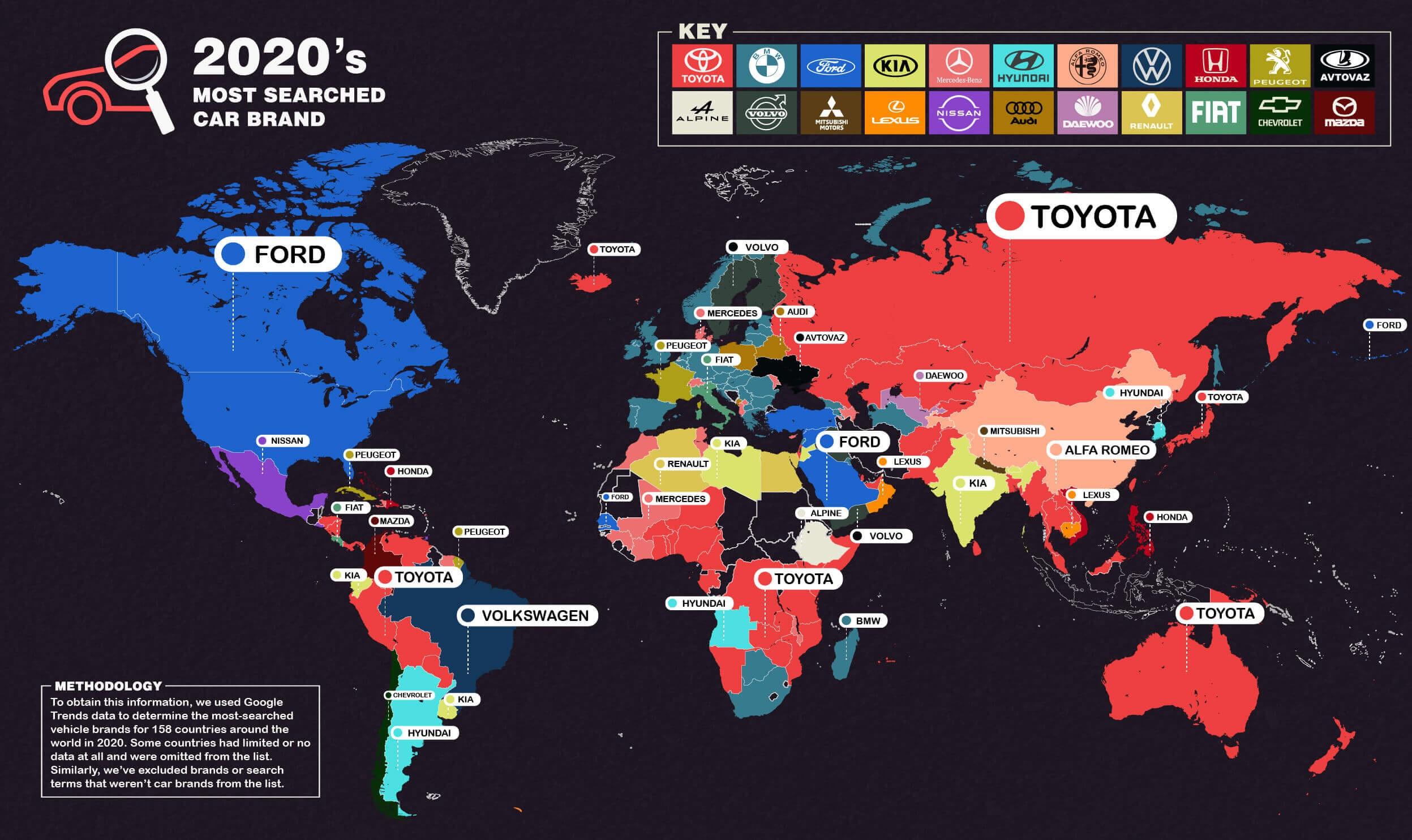 Thương hiệu ô tô nào được tìm kiếm nhiều nhất thế giới?