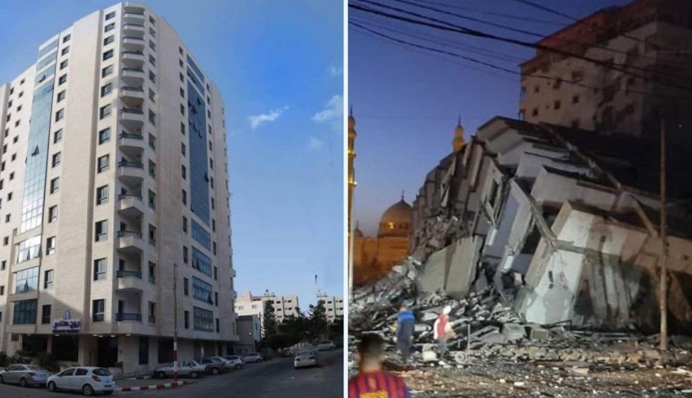 Israel không kích đánh sập tòa nhà 13 tầng ở Dải Gaza