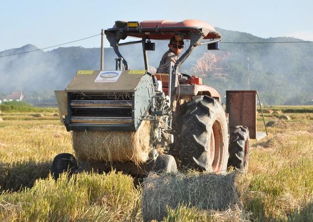 Đội nắng 40 độ C, nông dân kiếm tiền từ nghề cuộn rơm thuê - 3