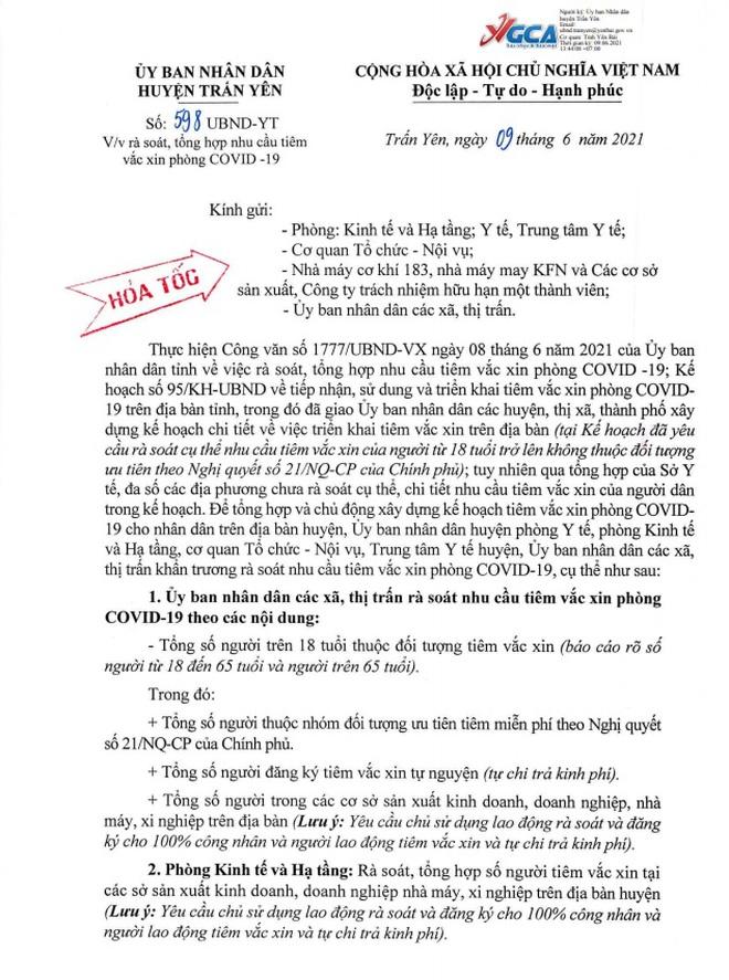 Xôn xao thông tin thu 650.000 đồng cho 2 mũi tiêm vắc xin Covid-19 - 1