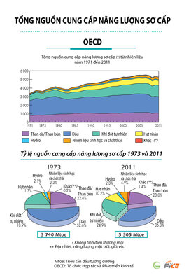 [INFOGRAPHIC] Tổng nguồn cung cấp năng lượng sơ cấp - OECD