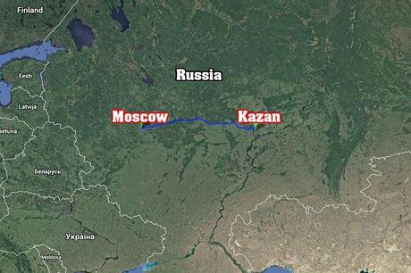 Thành phố Kazan nằm cáchthủđôMátxcơva khoảng 720 km về phía đông.