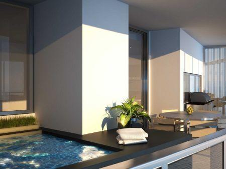 Bể bơi được thiết kế ở ngoài ban công mỗi tầng