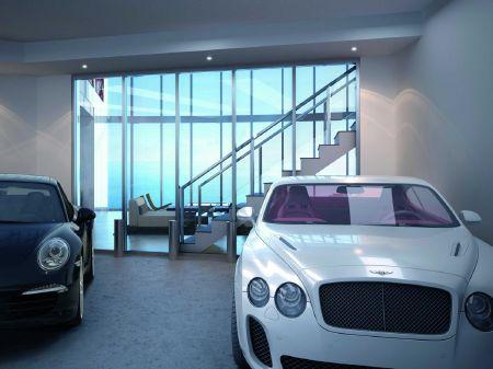 Những chiếc xe siêu sang được đặt ngay tại gara của mỗi căn hộ