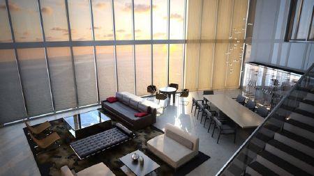 Hình vẽ phối cảnh một phòng khách nhìn từ cầu thang xuống