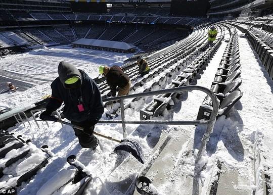 Sân vận độngMetLife, bang New Jersey ngừng hoạt động vì tuyết phủ kín.
