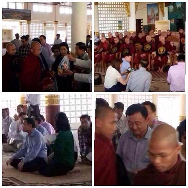 Hình ảnh ông Thaksin tại một ngôi chùa ở Myanmar được phát tán trên mạng.
