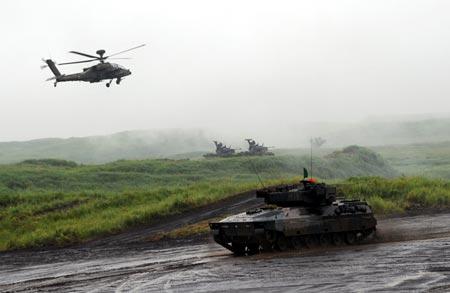 Lực lượng phòng vệ Nhật trong một cuộc tập trận ở Gotemba tháng 8/2013.