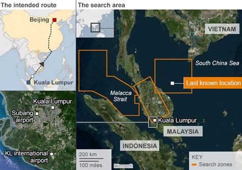 Malaysia dò thấy tín hiệu máy bay mất tích ở Eo Malacca