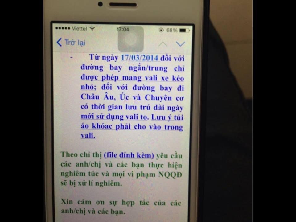 Vietnam Airlines cấm tiếp viên mang vali to xuất ngoại