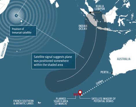 Khu vực các vật thể trôi nổi nghi của MH370 nằm cách thành phố Perth gần 2.500 km.