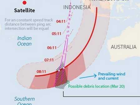 Vùng tìm kiếm máy bay mất tích ở nam Ấn Độ Dương.