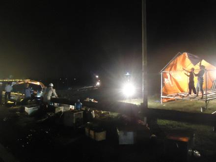 150 người đội mưa khắc phục sự cố