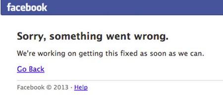 Thông báo lỗi của Facebook khi sự cố xảy ra