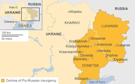 Lực lượng ly khai thân Nga đang kiểm soát các khu vực ở miền đông Ukraine.